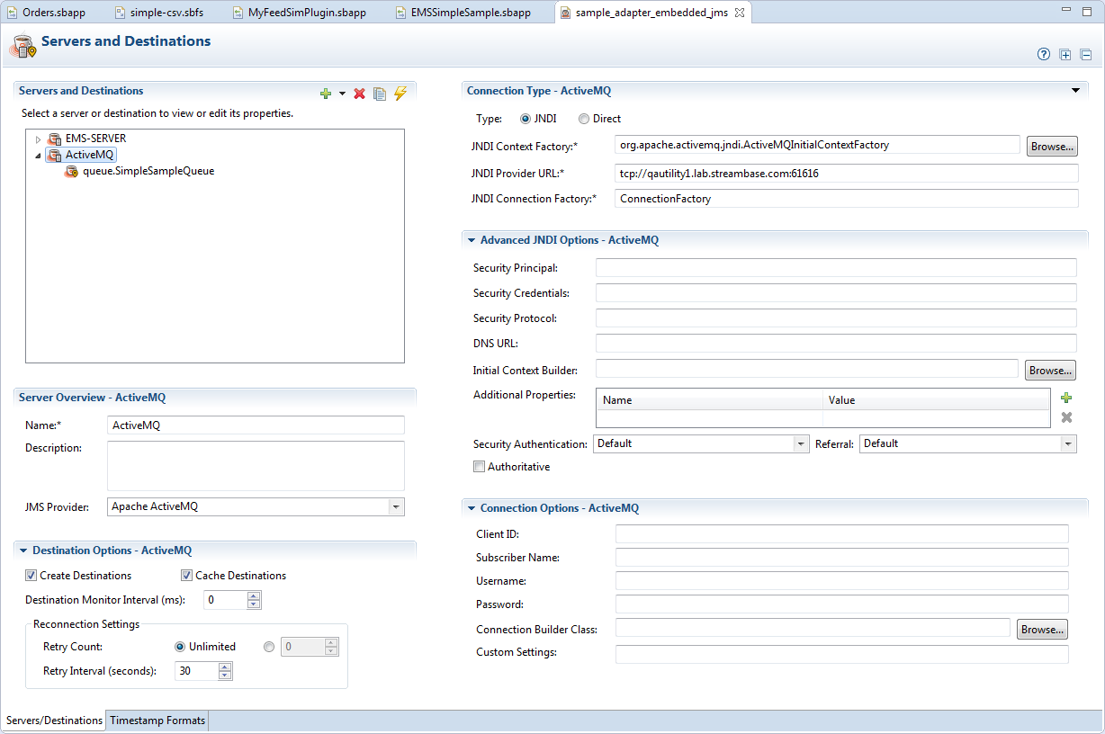 JMS and TIBCO EMS Configuration Editor